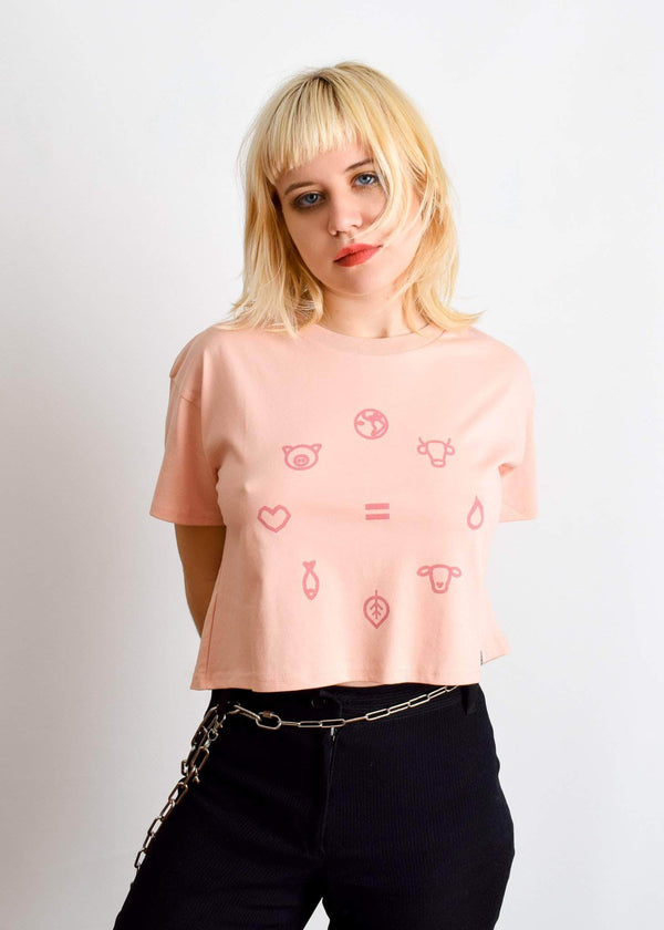 PLANT FACED CLOTHING: Crop Tops - Equal Beings - Salmon Pink Crop Tee, Vegan Clothing