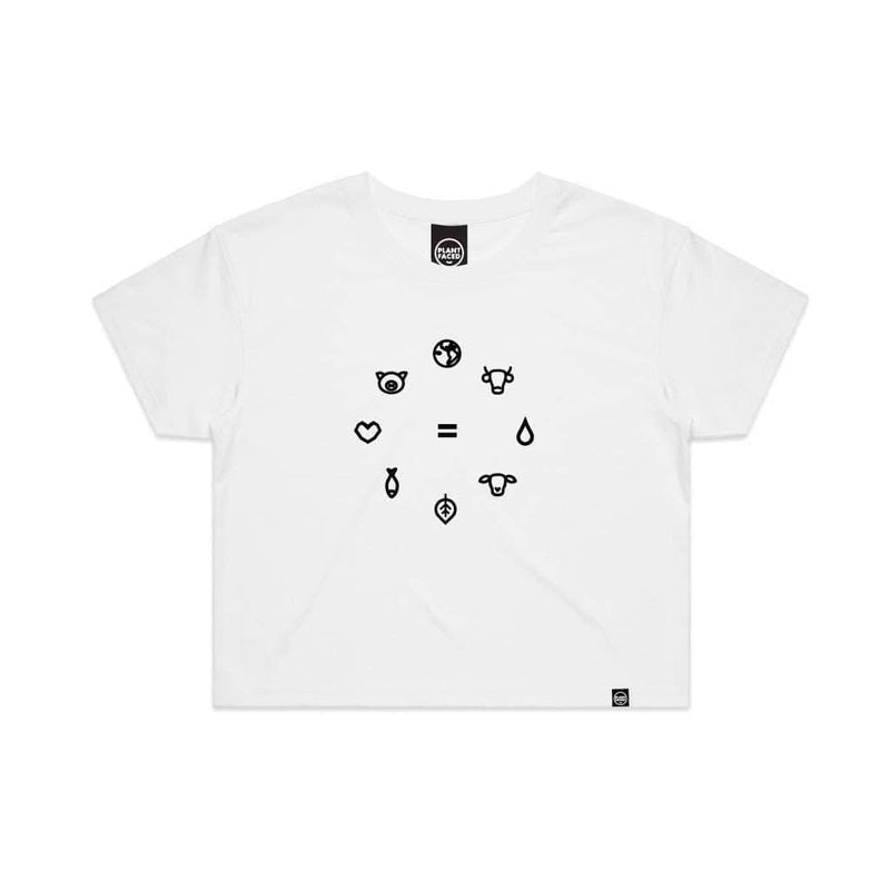 PLANT FACED CLOTHING: Crop Tops - Equal Beings - White x Black Crop Tee, Vegan Clothing