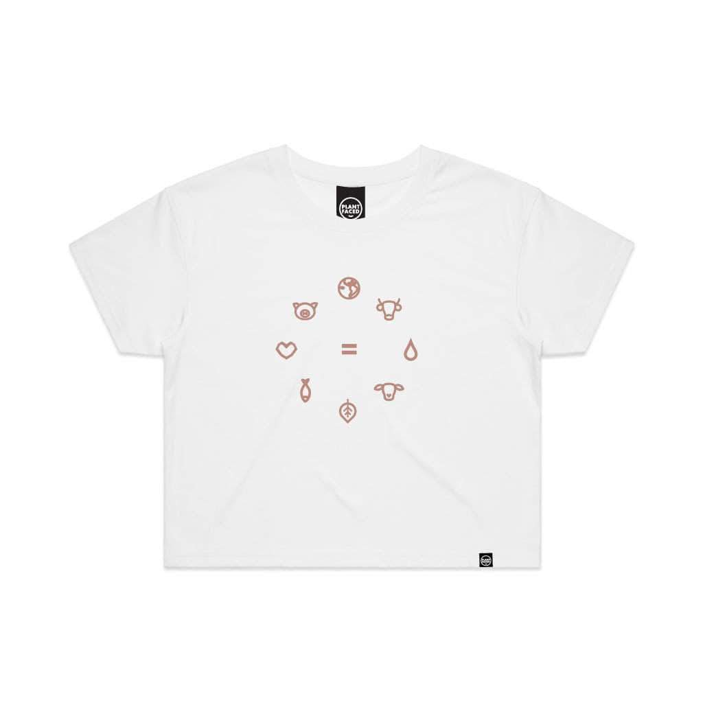 PLANT FACED CLOTHING: Crop Tops - Equal Beings - White x Pink Crop Tee, Vegan Clothing