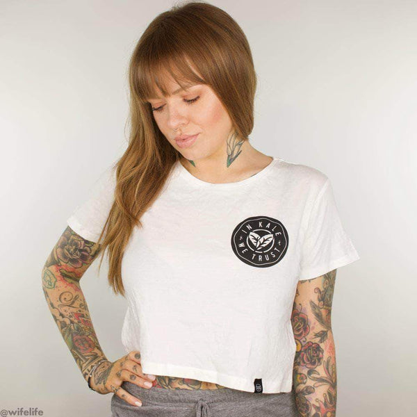 PLANT FACED CLOTHING: Crop Tops - In Kale We Trust - White Crop Top, Vegan Clothing