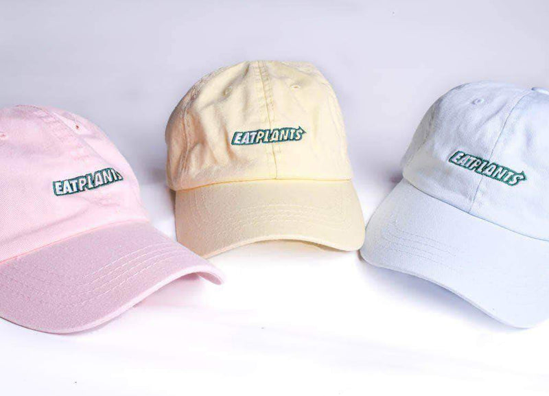 PLANT FACED CLOTHING: Hats - Eat Plants Dad Hat - Baby Blue, Vegan Clothing