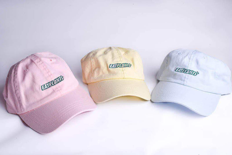 PLANT FACED CLOTHING: Hats - Eat Plants Dad Hat - Pastel Pink, Vegan Clothing