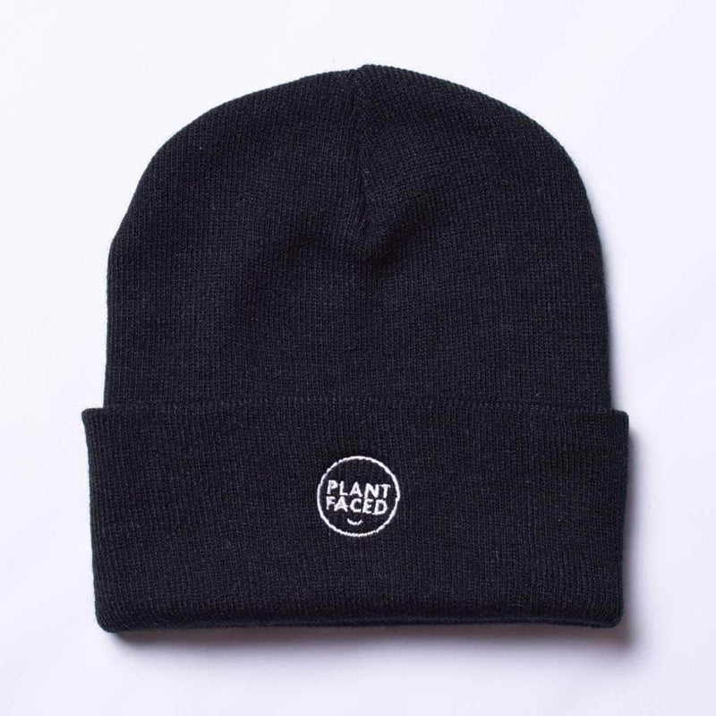 PLANT FACED CLOTHING: Hats - Plant Faced Beanie - Black, Vegan Clothing