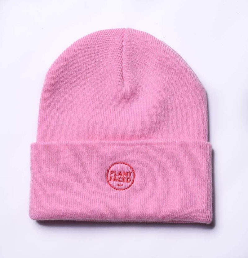 PLANT FACED CLOTHING: Hats - Plant Faced Beanie - Bubblegum Pink, Vegan Clothing