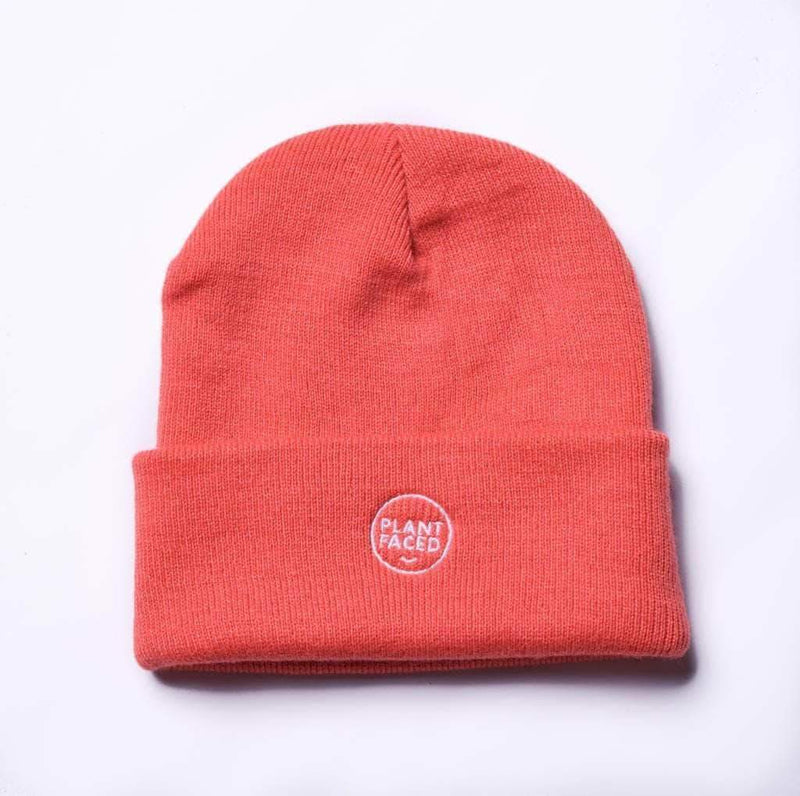 PLANT FACED CLOTHING: Hats - Plant Faced Beanie - Coral, Vegan Clothing