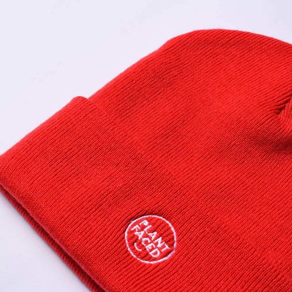 PLANT FACED CLOTHING: Hats - Plant Faced Beanie - Flame Red, Vegan Clothing