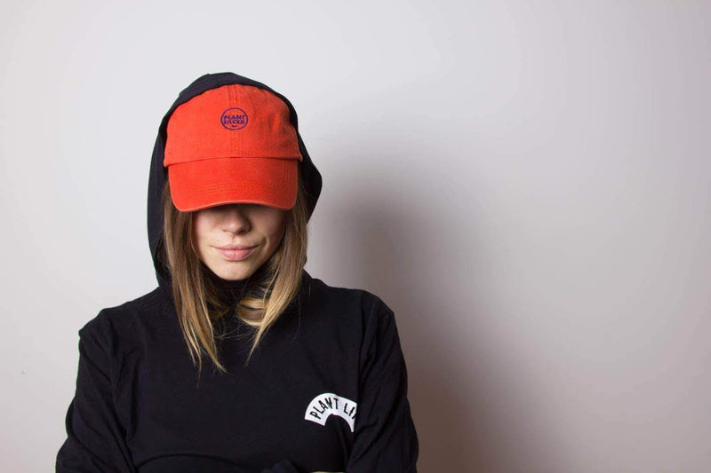 PLANT FACED CLOTHING: Hats - Plant Faced Dad Hat - Alarm Orange, Vegan Clothing