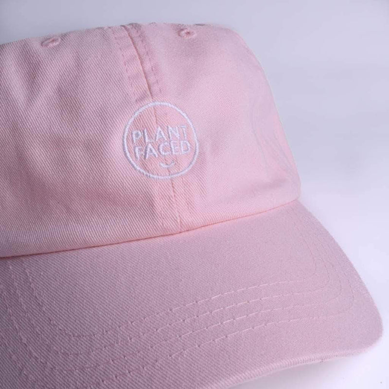 PLANT FACED CLOTHING: Hats - Plant Faced Dad Hat - Pastel Pink, Vegan Clothing