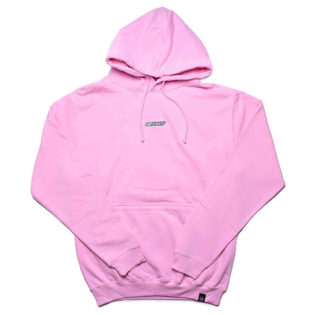 PLANT FACED CLOTHING: Hoodies - Eat Plants Hoodie - Pastel Pink, Vegan Clothing