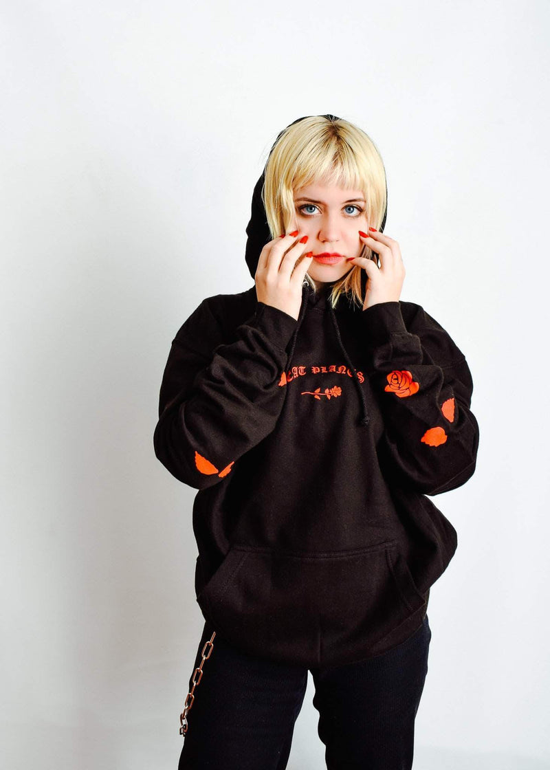 PLANT FACED CLOTHING: Hoodies - Eat Plants Scattered Roses - Hoodie - Black, Vegan Clothing