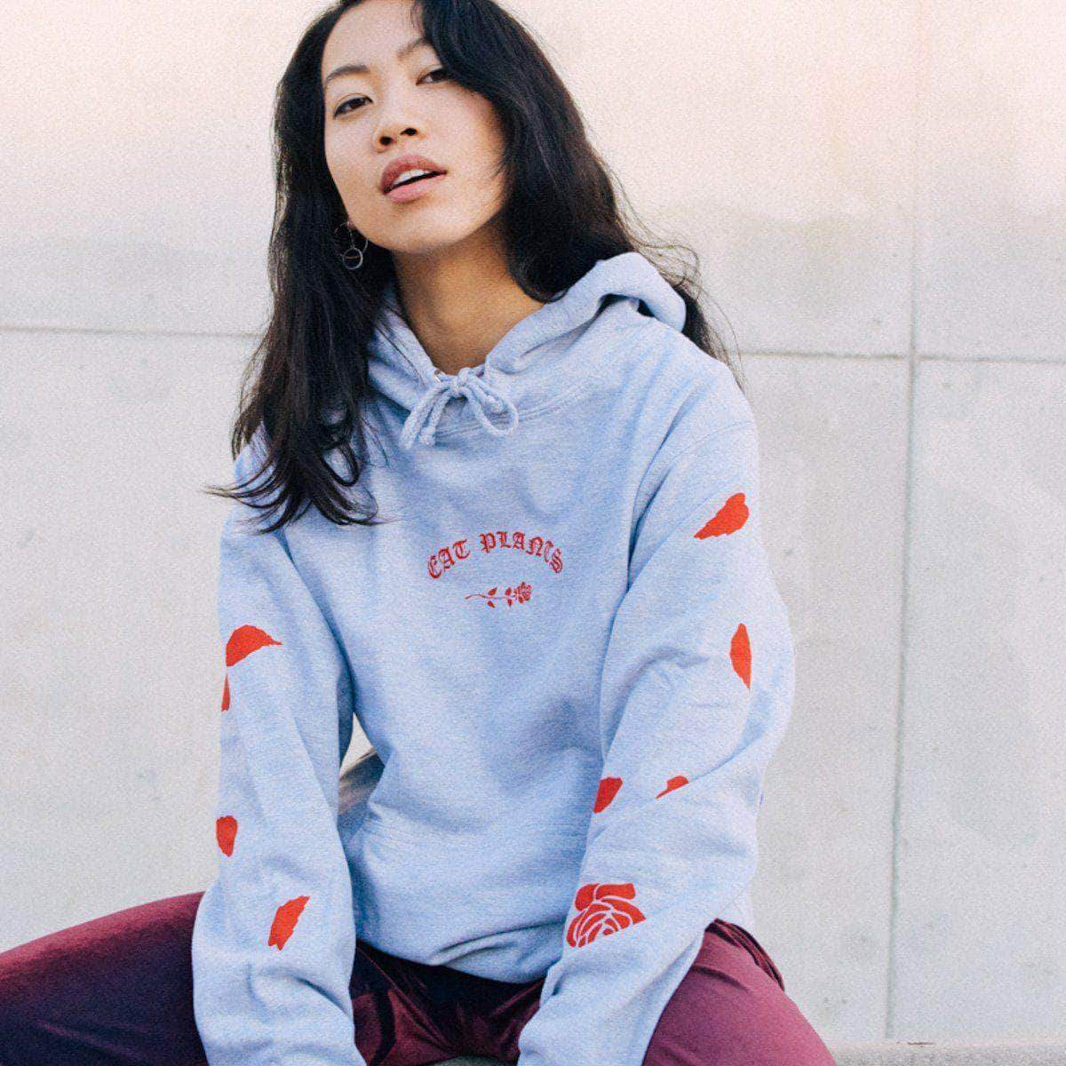 PLANT FACED CLOTHING: Hoodies - Eat Plants Scattered Roses - Hoodie - Heather Grey, Vegan Clothing