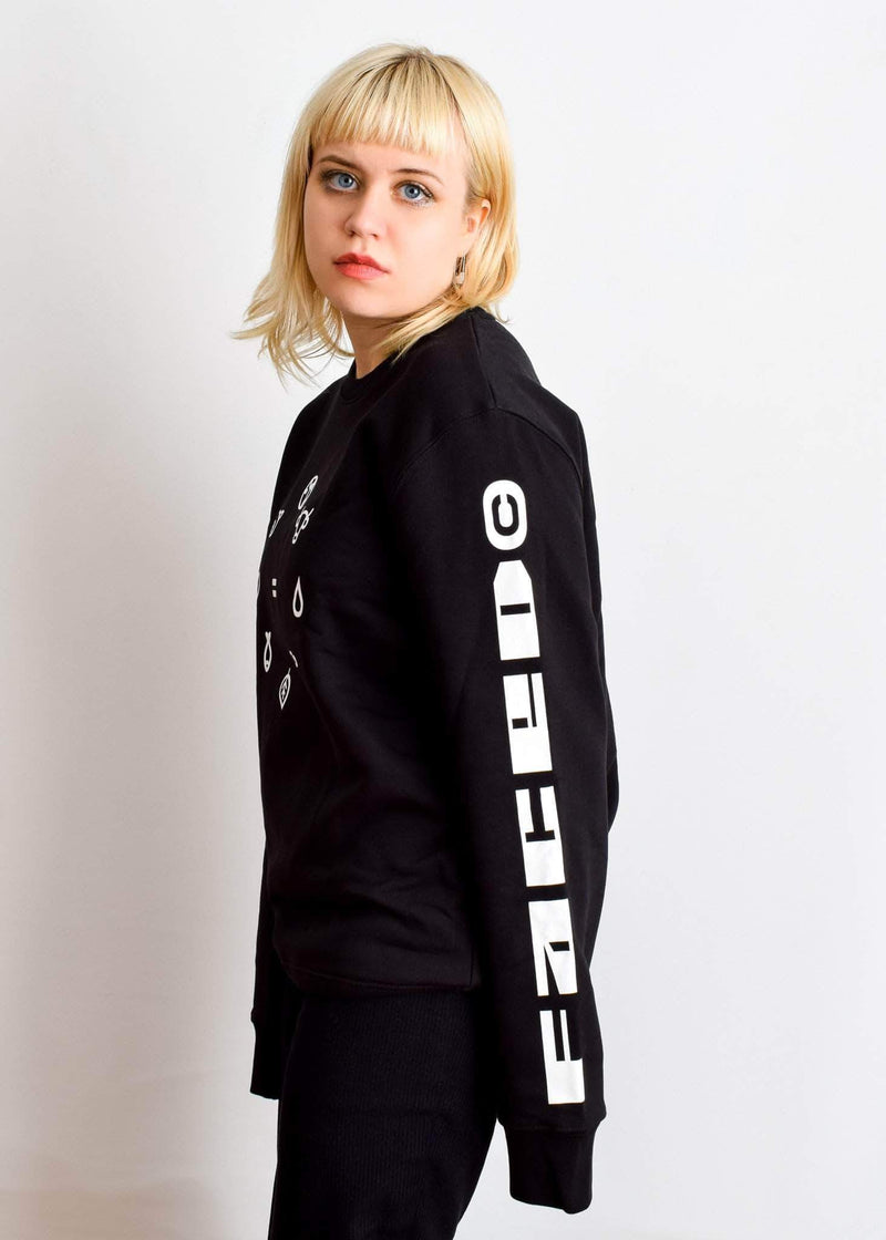 PLANT FACED CLOTHING: Hoodies - Equal Beings Sweater - Black - ORGANIC X RECYCLED, Vegan Clothing