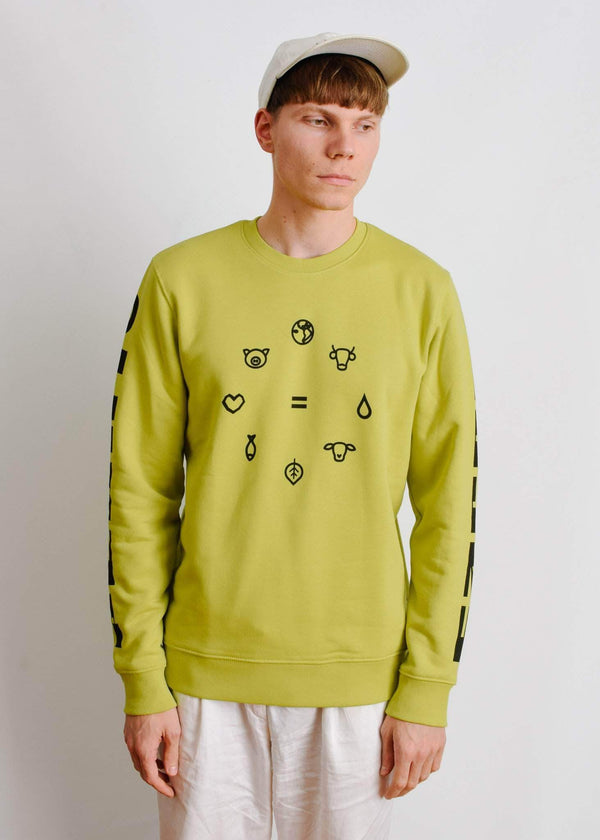 PLANT FACED CLOTHING: Hoodies - Equal Beings Sweater - Lime - ORGANIC X RECYCLED, Vegan Clothing