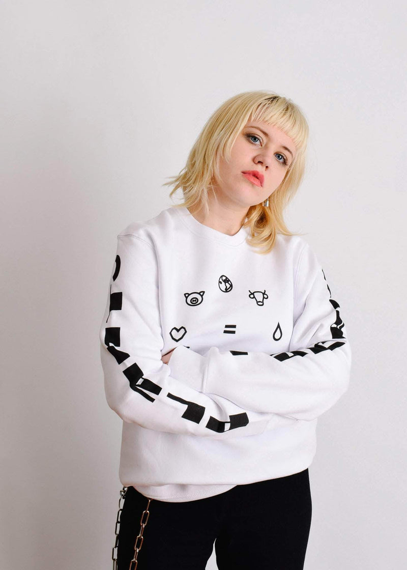PLANT FACED CLOTHING: Hoodies - Equal Beings Sweater - White - ORGANIC X RECYCLED, Vegan Clothing