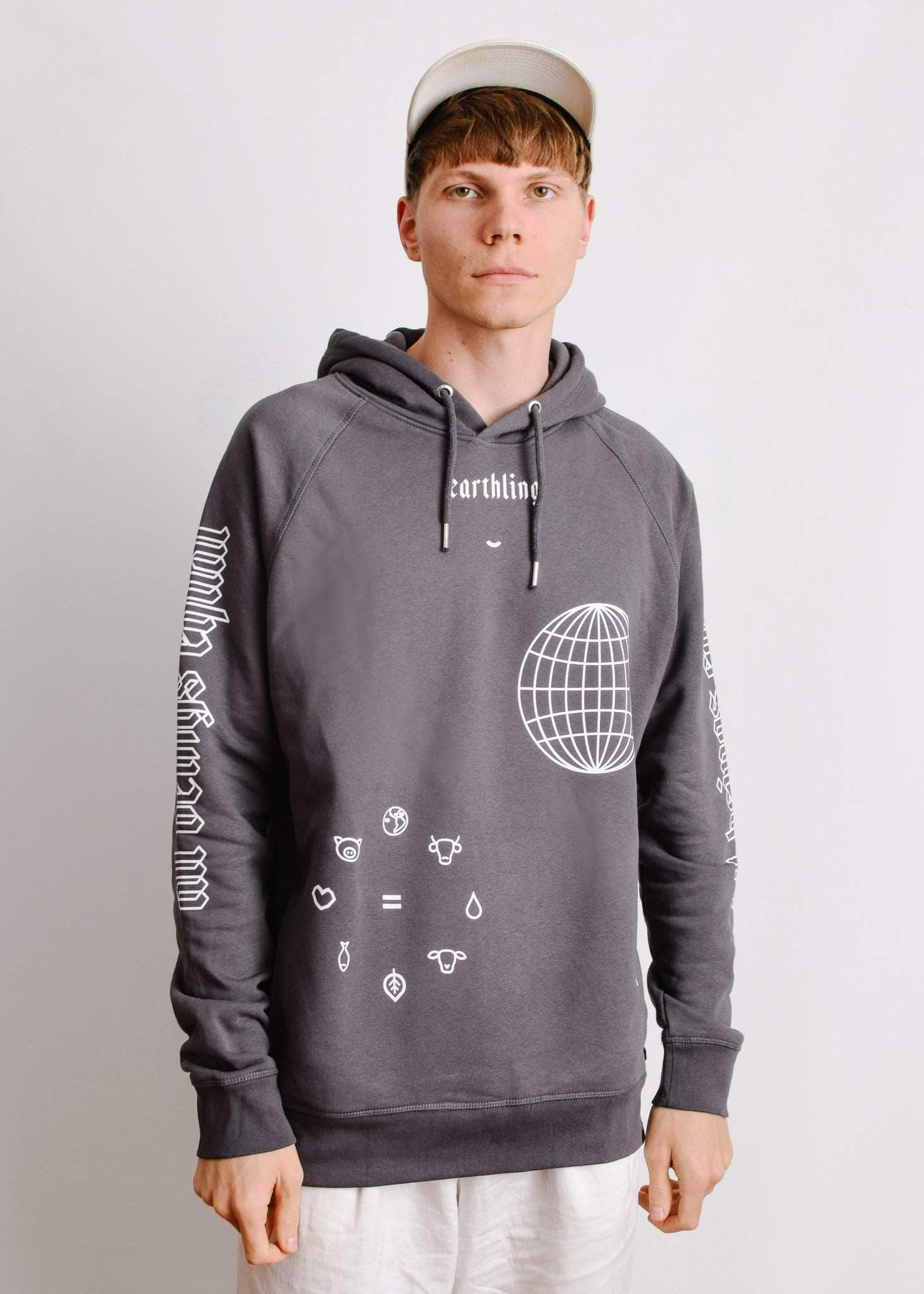 PLANT FACED CLOTHING: Hoodies - ERTHLNG - Hoodie - Charcoal - ORGANIC x RECYCLED, Vegan Clothing