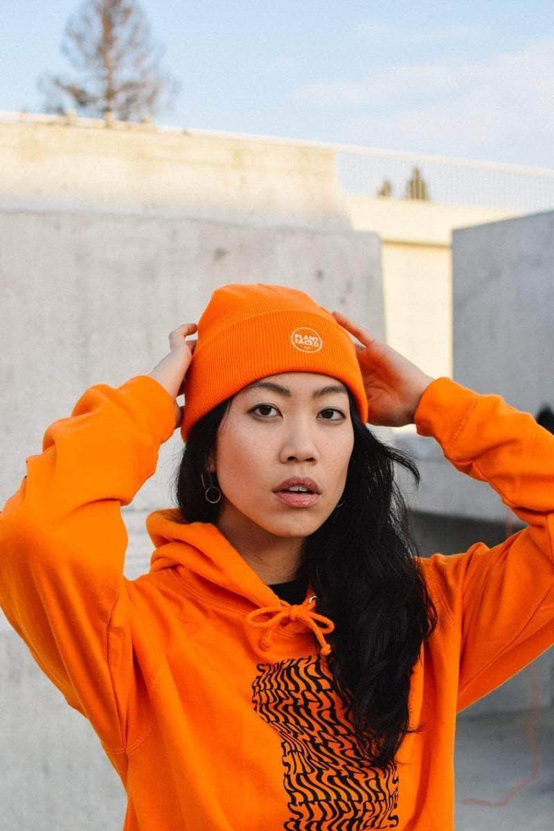PLANT FACED CLOTHING: Hoodies - Illusions Hoodie - Stop Eating Animals - Alarm Orange, Vegan Clothing