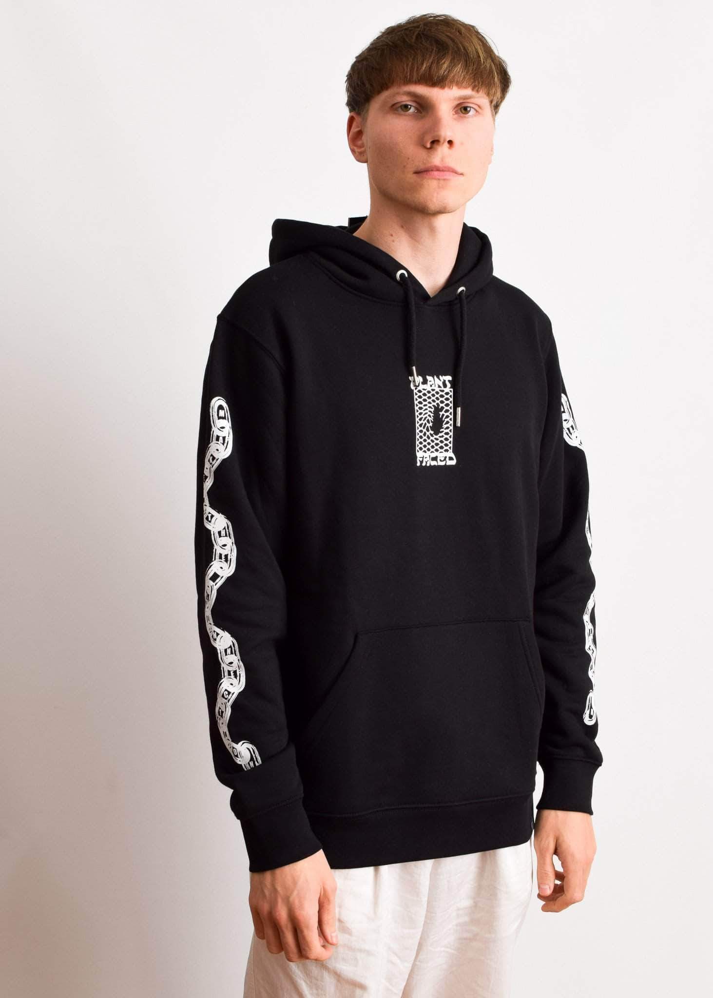 PLANT FACED CLOTHING: Hoodies - Make The Connection Hoodie - Black - ORGANIC X RECYCLED, Vegan Clothing