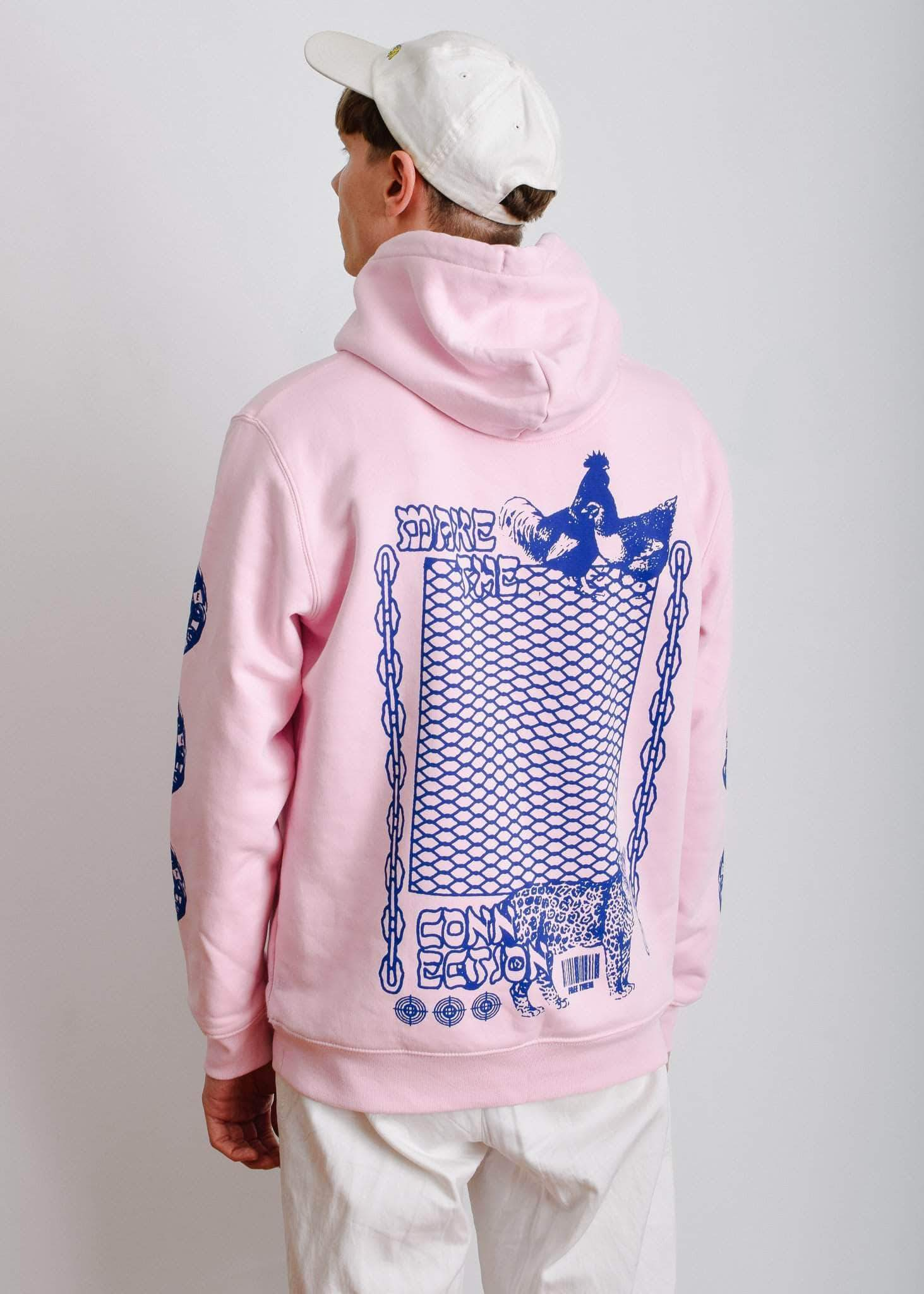 PLANT FACED CLOTHING: Hoodies - Make The Connection Hoodie - Pink x Blue - ORGANIC X RECYCLED, Vegan Clothing