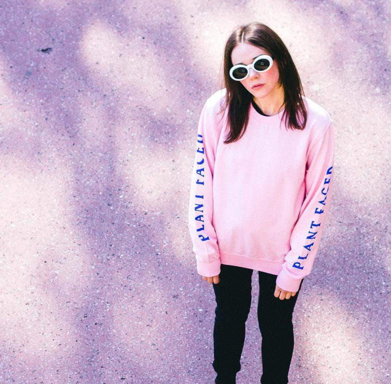 PLANT FACED CLOTHING: Hoodies - No Beef Sweater - Baby Pink x Electric Blue, Vegan Clothing