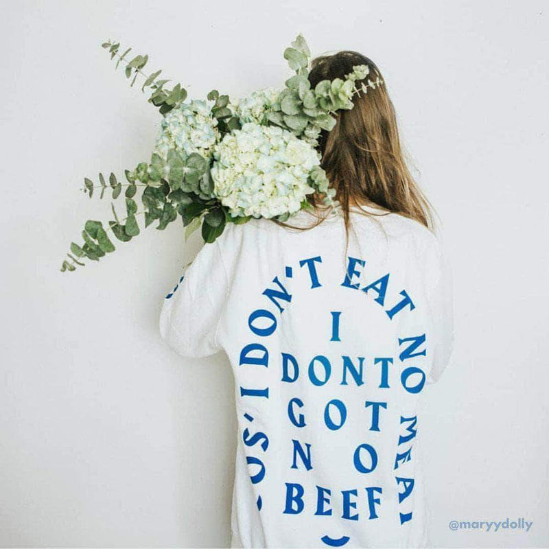 PLANT FACED CLOTHING: Hoodies - No Beef Sweater - White x Electric Blue - Unisex, Vegan Clothing