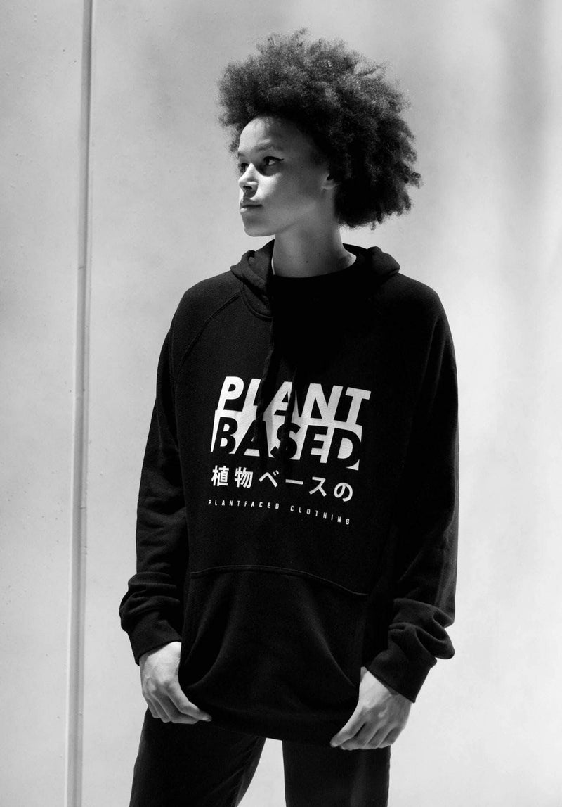 PLANT FACED CLOTHING: Hoodies - Plant Based Kanji Hoodie - Black - 100% Organic Cotton - Unisex, Vegan Clothing