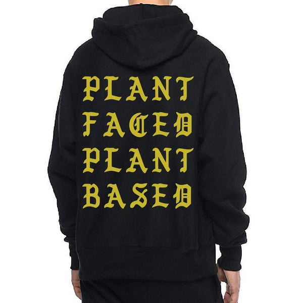 PLANT FACED CLOTHING: Hoodies - Plant Faced Pablo Hoody - Black & Gold - Premium Blend, Vegan Clothing