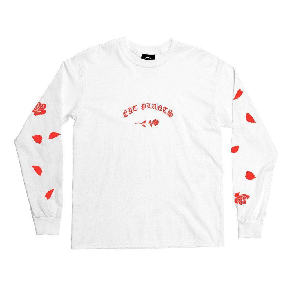 PLANT FACED CLOTHING: Long Sleeves - Eat Plants Scattered Roses - Long Sleeve - White - 100% Organic Cotton, Vegan Clothing