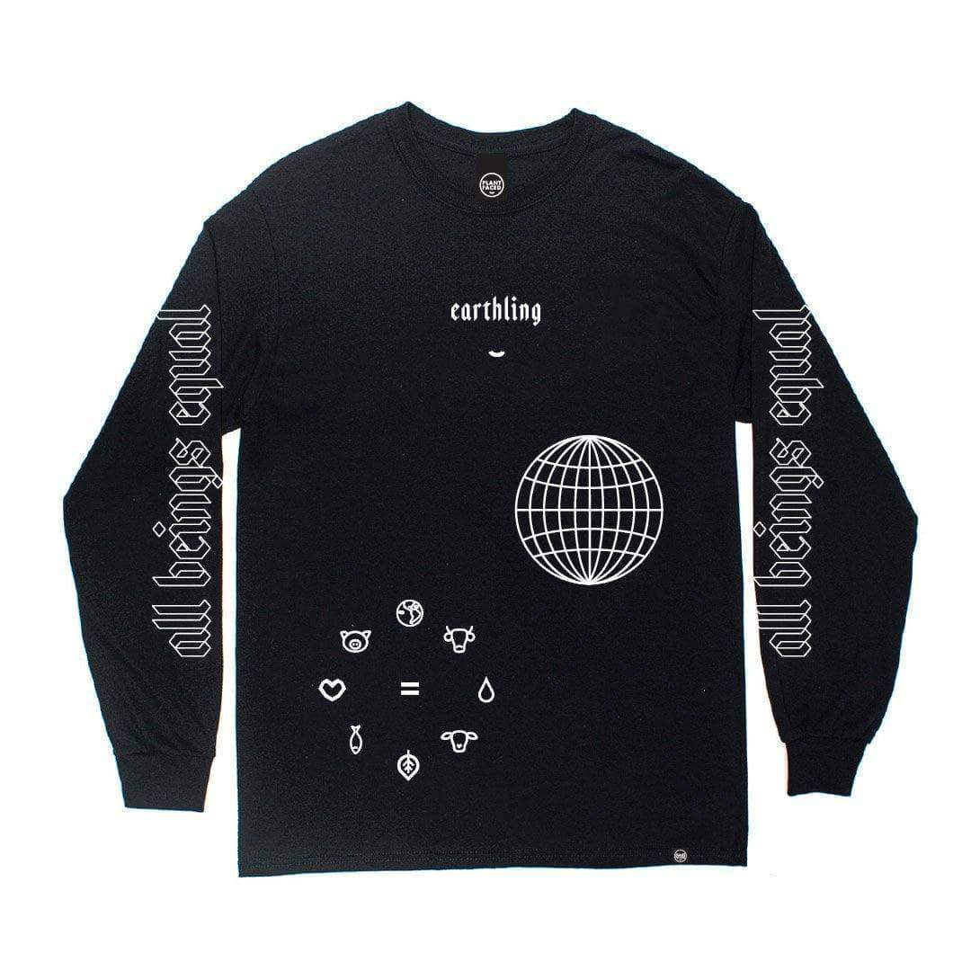 PLANT FACED CLOTHING: Long Sleeves - ERTHLNG Long Sleeve - Black - 100% Organic Cotton, Vegan Clothing