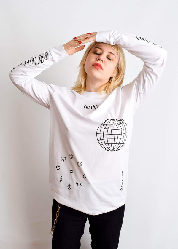 PLANT FACED CLOTHING: Long Sleeves - ERTHLNG Long Sleeve - White - 100% Organic Cotton, Vegan Clothing