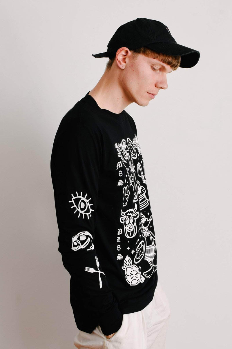 PLANT FACED CLOTHING: Long Sleeves - M8S NOT PL8S Long Sleeve - Black - 100% Organic Cotton, Vegan Clothing
