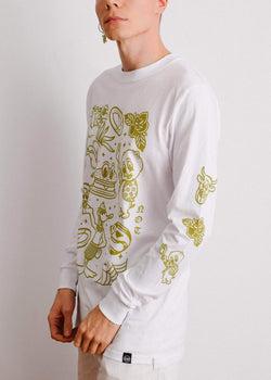 PLANT FACED CLOTHING: Long Sleeves - M8S NOT PL8S Long Sleeve - White x Bronze - 100% Organic Cotton, Vegan Clothing