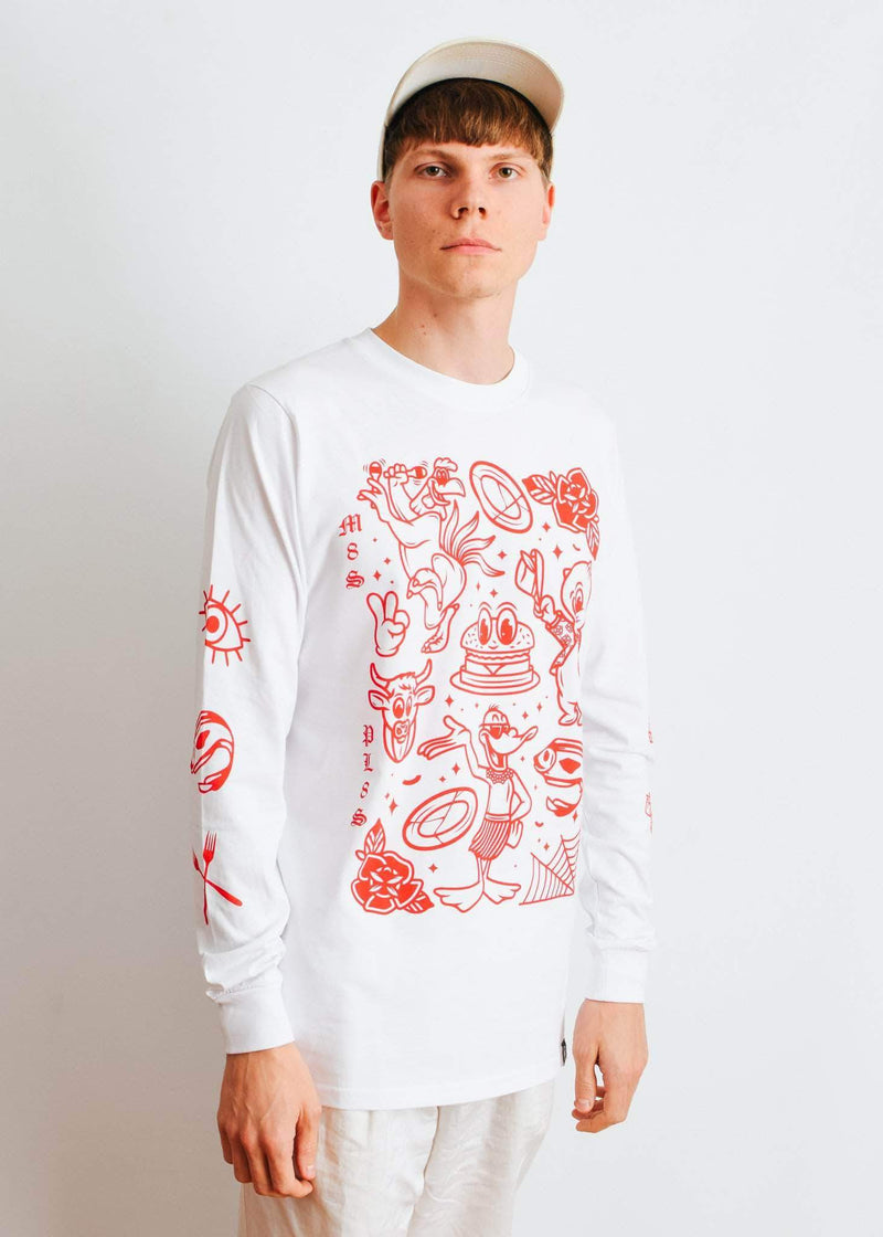 PLANT FACED CLOTHING: Long Sleeves - M8S NOT PL8S Long Sleeve - White x Red - 100% Organic Cotton, Vegan Clothing
