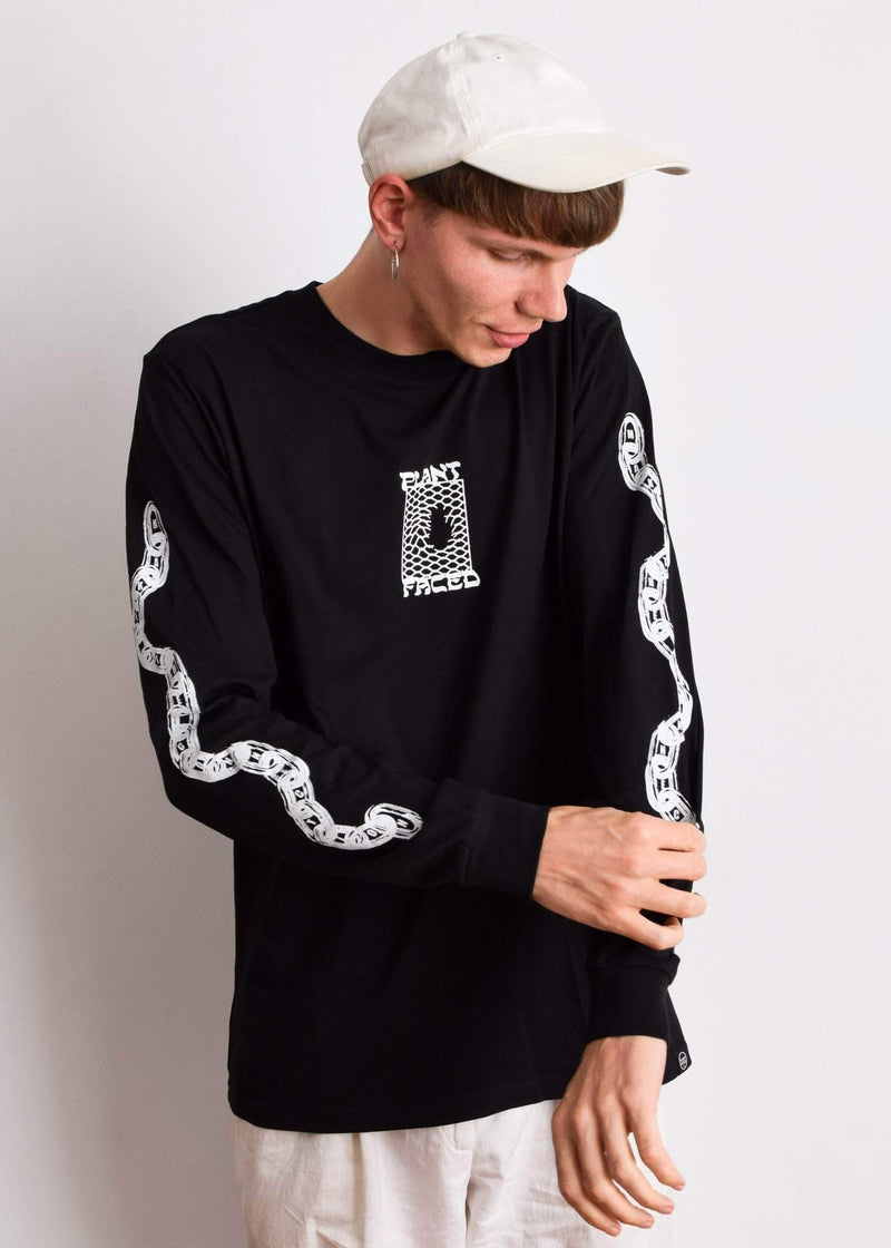 PLANT FACED CLOTHING: Long Sleeves - Make The Connection Long Sleeve - Black - 100% Organic Cotton, Vegan Clothing