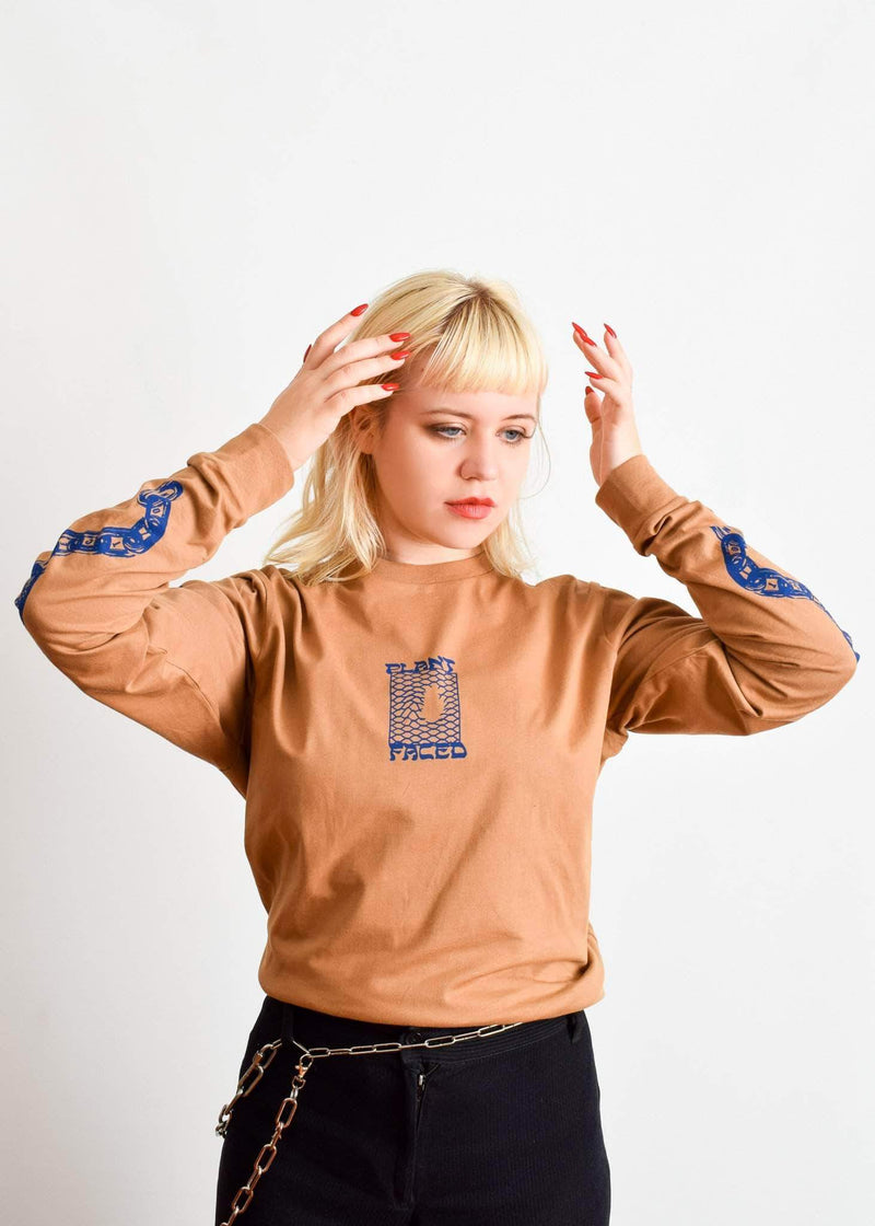 PLANT FACED CLOTHING: Long Sleeves - Make The Connection Long Sleeve - Dark Beige - 100% Organic Cotton, Vegan Clothing