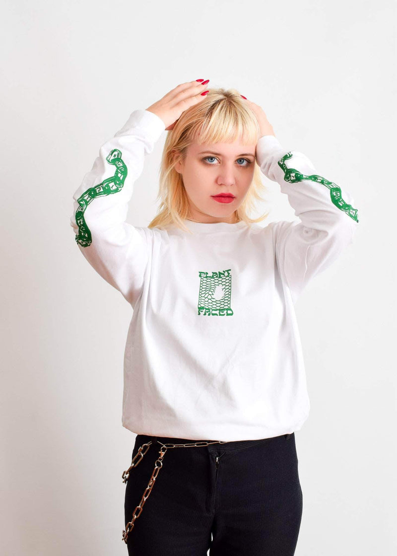 PLANT FACED CLOTHING: Long Sleeves - Make The Connection Long Sleeve - White - 100% Organic Cotton, Vegan Clothing