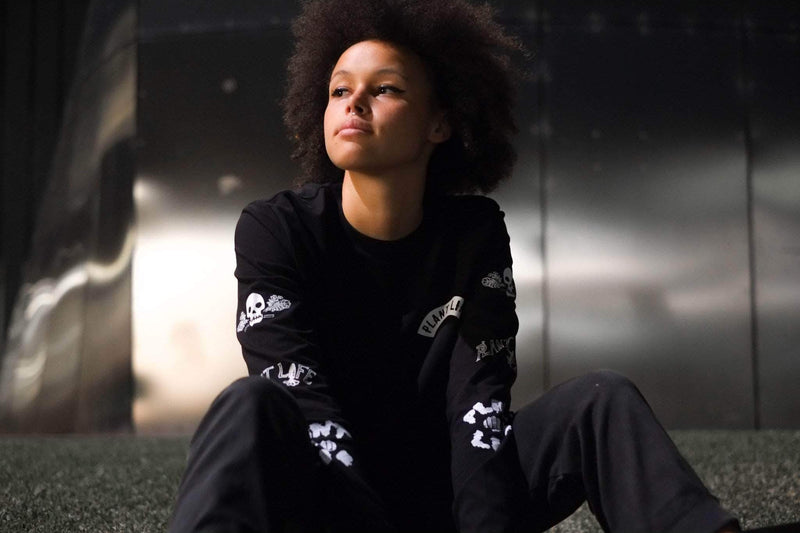 PLANT FACED CLOTHING: Long Sleeves - Plant Life Long Sleeve - Black - 100% Organic Cotton, Vegan Clothing