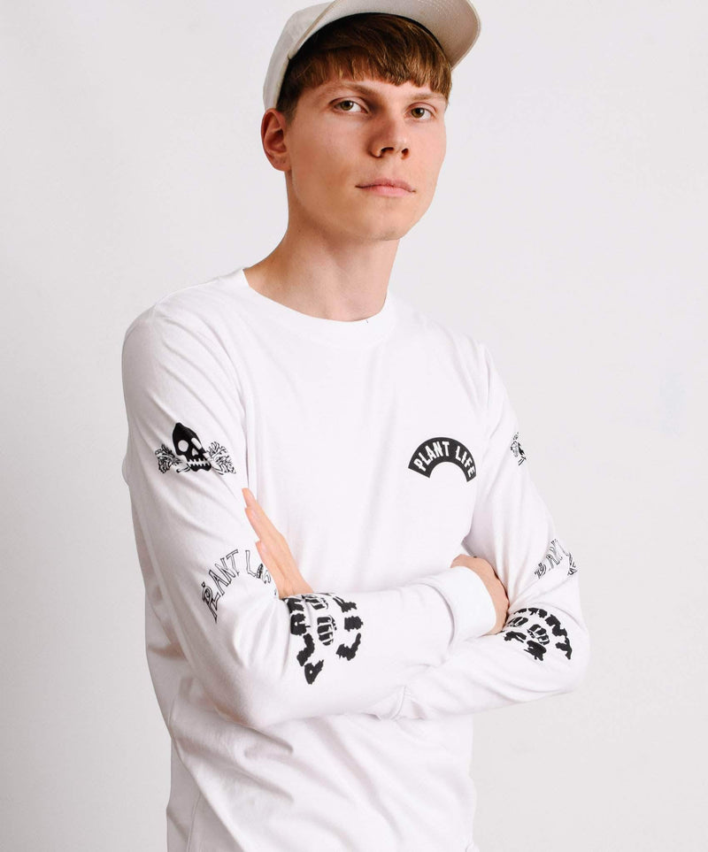 PLANT FACED CLOTHING: Long Sleeves - Plant Life Long Sleeve - White - 100% Organic Cotton, Vegan Clothing