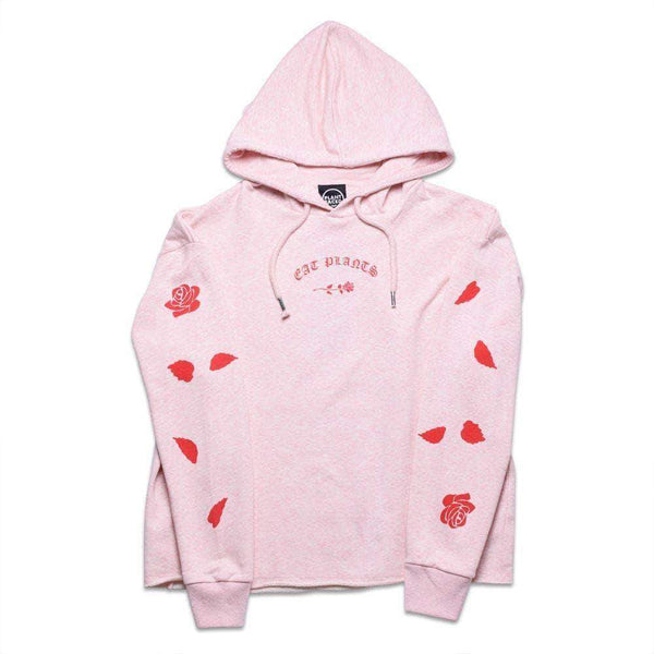 PLANT FACED CLOTHING:  - Eat Plants Scattered Roses - Crop Hoodie - Candy Pink, Vegan Clothing