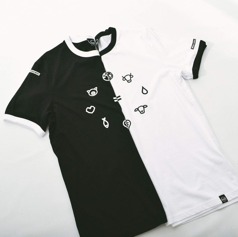 PLANT FACED CLOTHING: T-Shirts - Equal Beings Ringer Tee - Black x White - 100% ORGANIC, Vegan Clothing