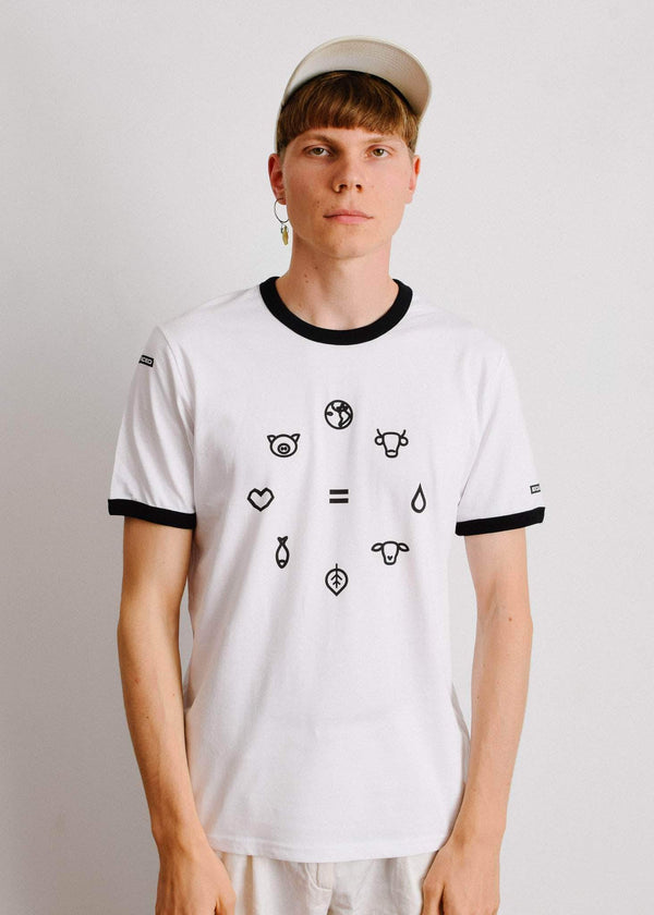 PLANT FACED CLOTHING: T-Shirts - Equal Beings Ringer Tee - White x Black - 100% ORGANIC, Vegan Clothing