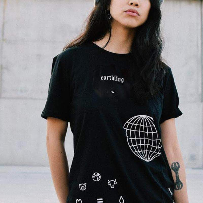 PLANT FACED CLOTHING: T-Shirts - ERTHLNG Tee - Black - 100% Organic Cotton, Vegan Clothing
