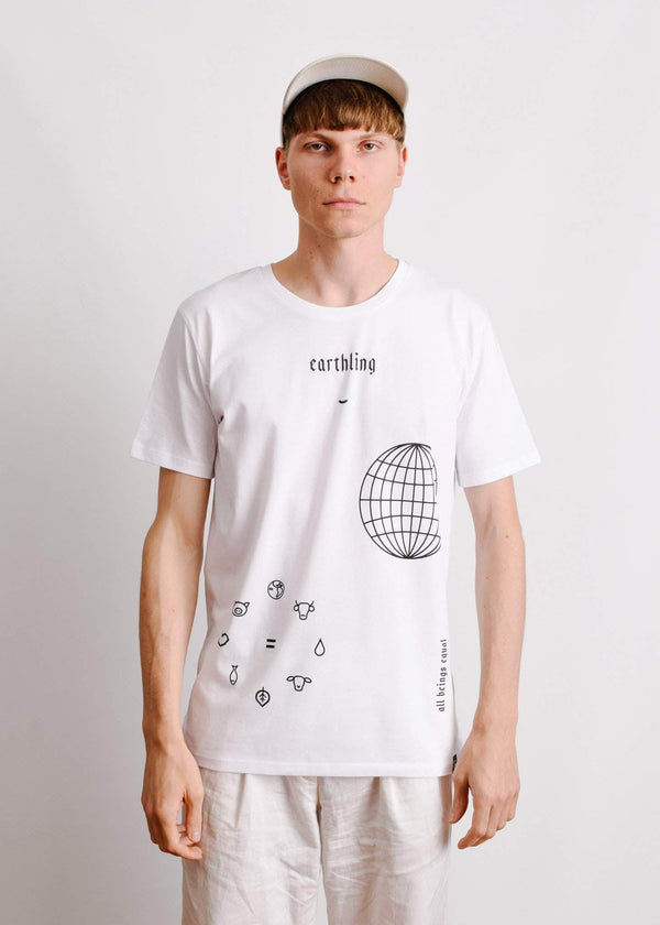 PLANT FACED CLOTHING: T-Shirts - ERTHLNG Tee - White - 100% Organic Cotton, Vegan Clothing