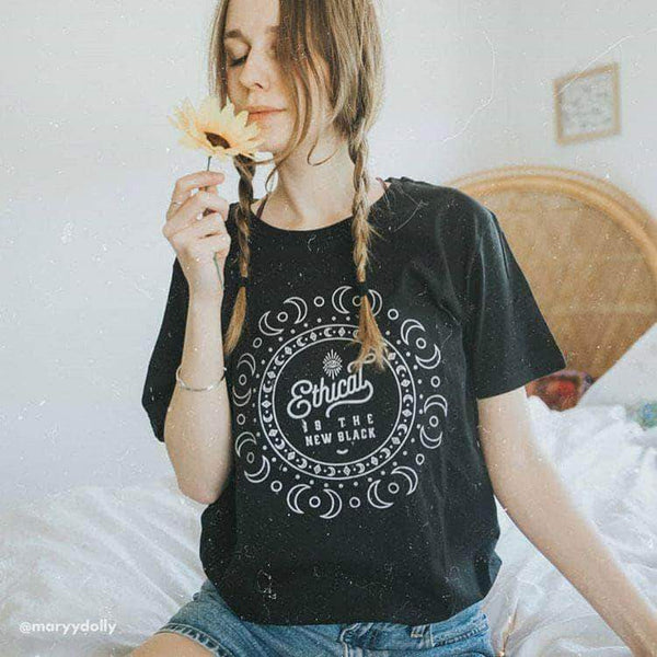 PLANT FACED CLOTHING: T-Shirts - Ethical Is The New Black - 100% Organic T-Shirt - Metallic Silver, Vegan Clothing