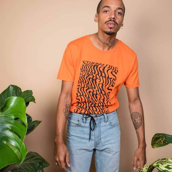 PLANT FACED CLOTHING: T-Shirts - Illusions Tee - Stop Eating Animals - Alarm Orange, Vegan Clothing