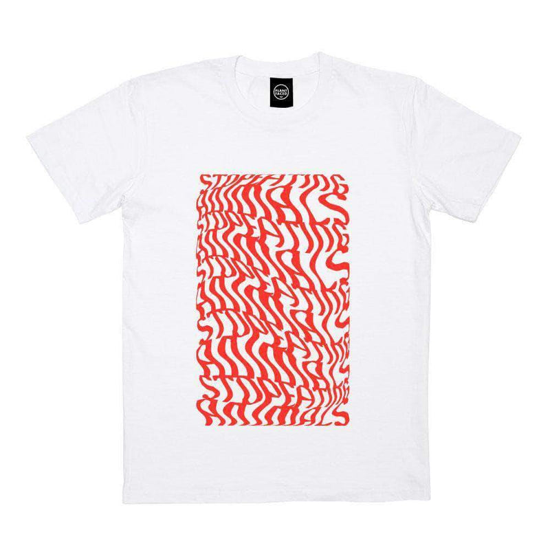 PLANT FACED CLOTHING: T-Shirts - Illusions Tee - Stop Eating Animals - White x Red, Vegan Clothing