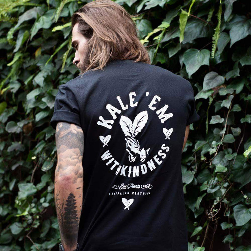 PLANT FACED CLOTHING: T-Shirts - Kale 'Em With Kindness Tee - Black - 100% Organic Cotton T-Shirt, Vegan Clothing
