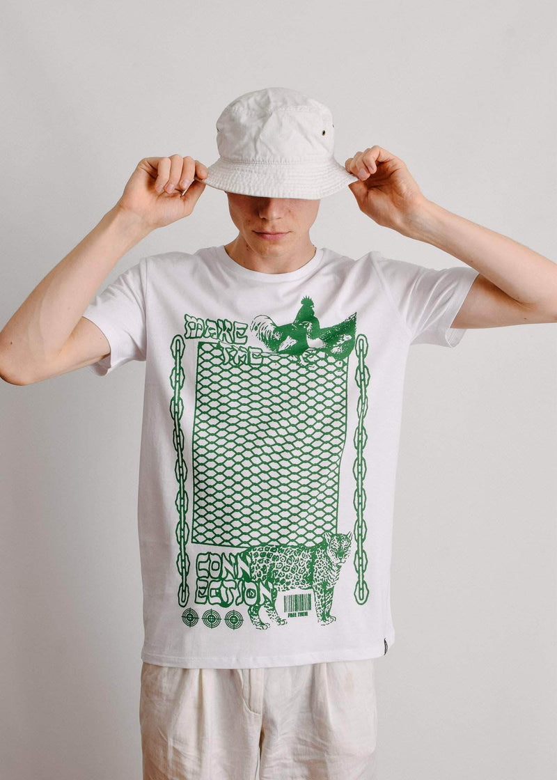 PLANT FACED CLOTHING: T-Shirts - Make The Connection 1S Tee - White - 100% Organic Cotton, Vegan Clothing
