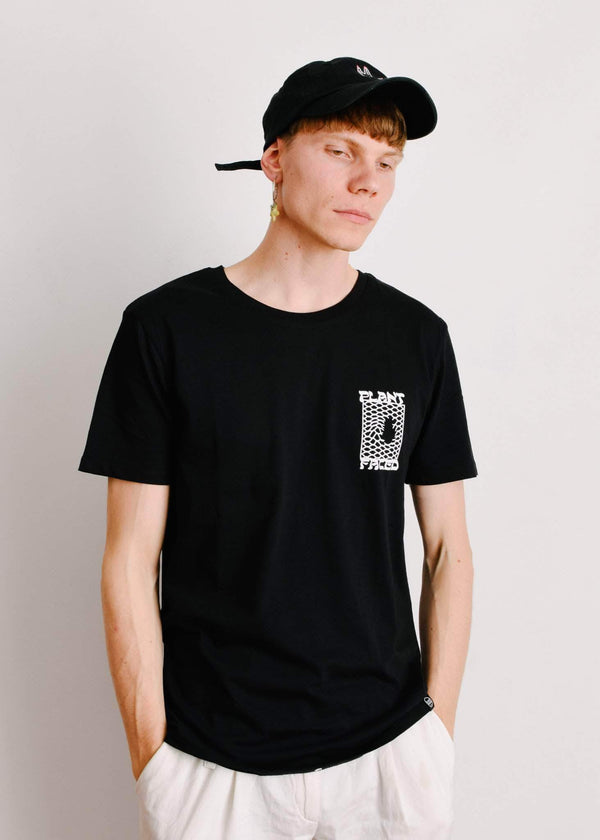 PLANT FACED CLOTHING: T-Shirts - Make The Connection Double Tee - Black - 100% Organic Cotton, Vegan Clothing