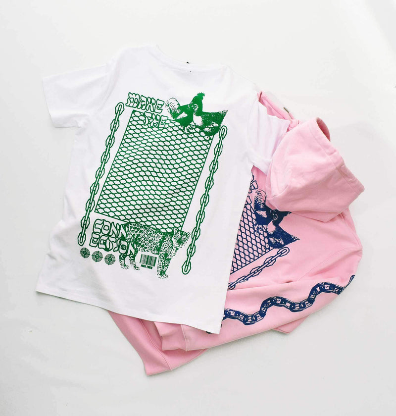 PLANT FACED CLOTHING: T-Shirts - Make The Connection Double Tee - White - 100% Organic Cotton, Vegan Clothing