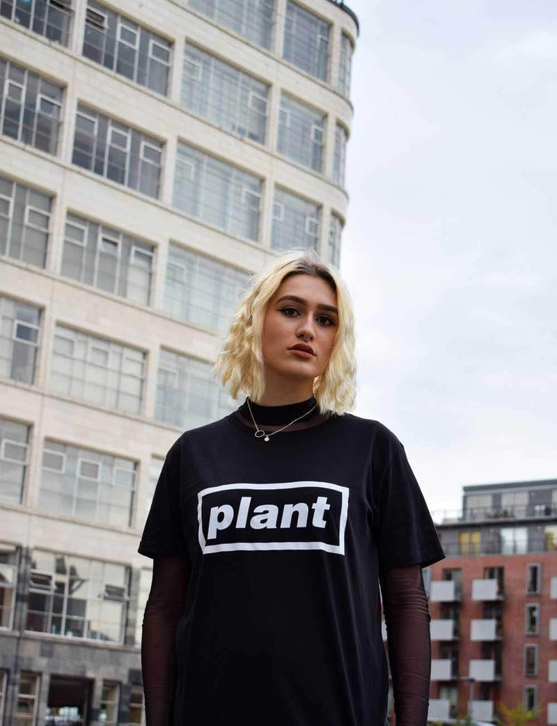 PLANT FACED CLOTHING: T-Shirts - Plates Tee - Black - 100% Organic Cotton T-Shirt, Vegan Clothing